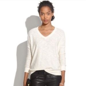 Madewell V Neck Wool Blend Pullover Sweater Cream